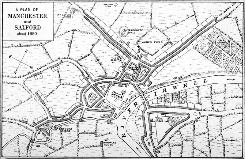 Map of Manchester and Salford taken about 1650